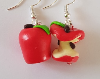 Red Apple and its core nature earrings in handmade fimo