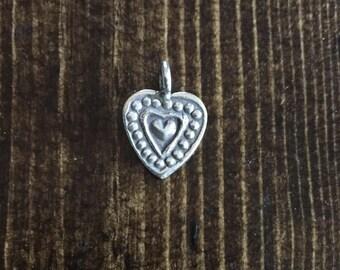 HT-32 Thai Hill Tribe Fine Silver Heart Charm