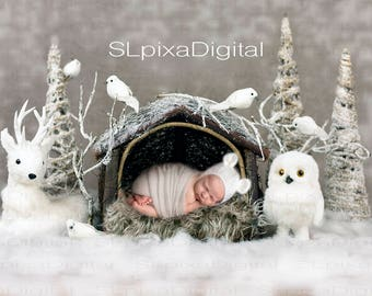 Digital background digital backdrop newborn christmas winter #26