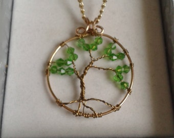 Green and Gold Tree of Life Wire Wrapped Pendant