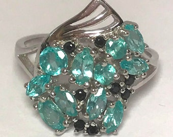 Apatite and Black Spinel 925 Sterling Silver 1940s Style Retro Ring Size 9 1/2