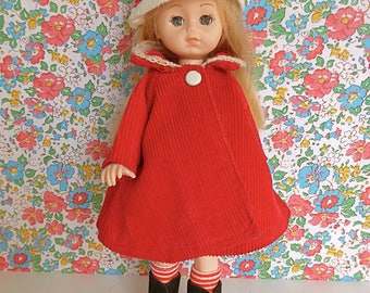 VINTAGE CORDUROY COAT and hat, in bright red, designed for all 8in/18cm dolls like Ginny, Kripplebush Kids, Penny Brite, even Bjd Licca Chan