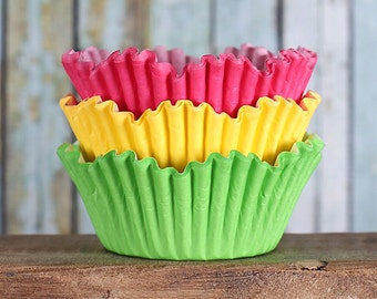 Spring Petal Cupcake Liners, Tulip Cupcake Liners, Petal Baking Cups, Pink Cupcake Liners, Yellow Cupcake Liners, Lime Green Cupcake Liners