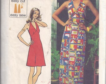 Simplicity 5558 Vintage Pattern from 1973.  Misses Jiffy Knit Halter Dress in Two Lengths.  Jiffy Pattern for Knits.  Bust 34
