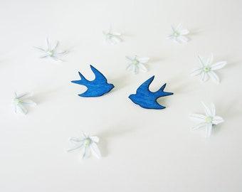 Swallow -stud earrings, blue