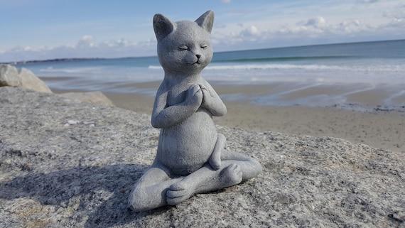 Great Buddha Cat Meditating Cat Yoga Cat Garden Decor Cat Statue