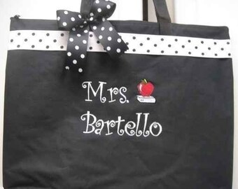 Teacher Tote Bag personalized GIFT 4 special teacher Ribbon enhanced custom made book tote for that special  teacher.  ANY COLORS