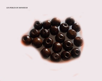 set of 10 Brown wooden beads