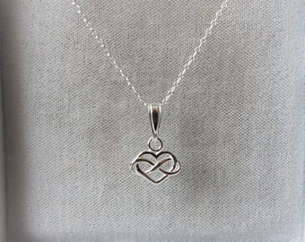 Sterling Silver Infinity Heart Pendant Necklace.