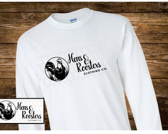 Hens & Roosters Clothing Co Logo T-Shirt Long Sleeve / Hens and Rooster Clothing Co - Up to a 5X - (G2400) #0000 - FREE SHIPPING!