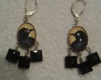 Raven/ Crow Glass Dome Dangle Earrings