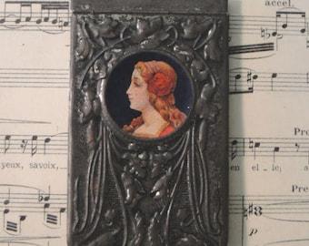 """Antique Art Nouveau """"Mucha"""" Dance Card c1900-1920"""