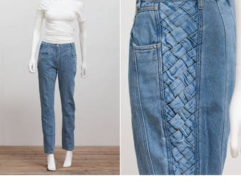 Vintage 80's High Waist Denim Jeans With Woven Detail • High Waisted 80's Jeans • Mom Jeans • High Waisted Peg Jeans