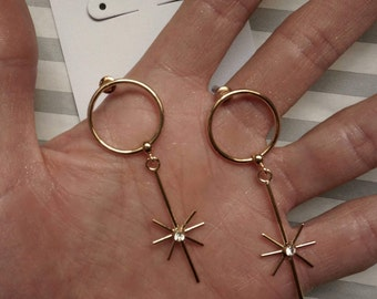Starburst hoop gold earrings