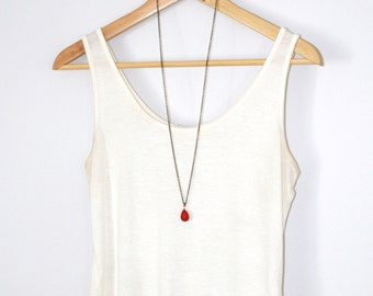 Long Necklace, Red Coral Quartz,  Layering Necklace, Long Chain, Simple layering Necklace, Red Coral Quartz Pendant