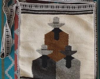 Cowboy vintage woven southwester geometric pattern tote bag purse