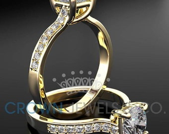 Round Brilliant Cut Engagement Ring 1.1 Carat F VS Diamond Women's Yellow Gold Setting With Side Accent Diamonds