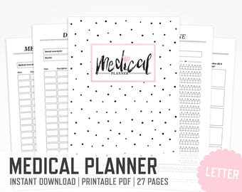 Medical Planner / Letter size / Printable Medical Binder Health Printable Habit Tracker Medication Medical Appointments / INSTANT DOWNLOAD