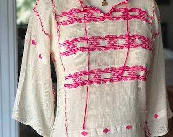 Vintage gauzy white top with hot pink embroidery