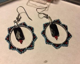 15/0 Beaded Hoop Earrings