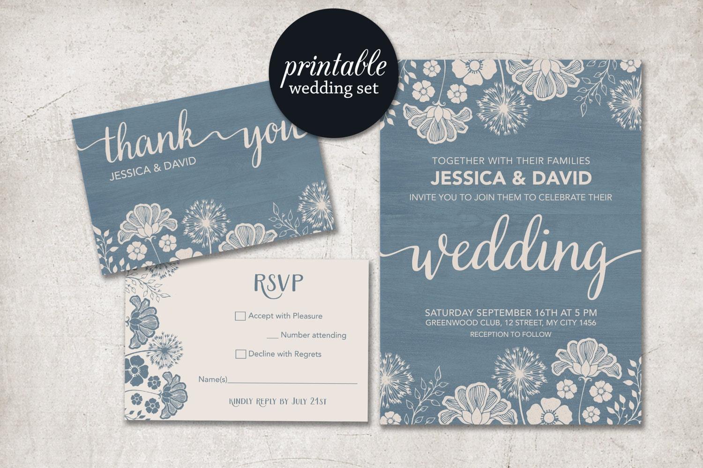 Blue Wedding Invitation: Dusty Blue Wedding Invitation Rustic Wedding Invitation