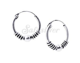 Silver Bali Hoops Earring,Sterling Silver Earring,Oxidised Bali Hoops
