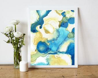 Coastal Home Decor, Abstract Printable, Abstract Art Print, Abstract Painting Print, Alcohol Ink Painting, 8x10 Print, blue sand white