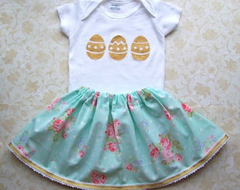 Baby girl first Easter birthday outfit,1st birthday,Gold,Pink,Mint,Blue,Aqua,Onesie,Skirt,Cake smash,Floral,Photo prop,Polka dot,Egg hunt
