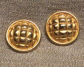 Pair Of Elegant Buttons In Gold Tone Metal