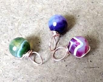 Set of three Dragon eggs/striped agate, copper wire wrapped, round gemstone pendants/magic dragon eggs/round agate pendant