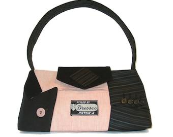 Little Liam#1818- Recycled Suit Coat Handbag - Small Shoulder Bag - Pink Purse - Ecofriendly Bag - Valentine Gift for Her - Upcycled Handbag