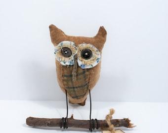 Cloth Doll | Owl Art Gift, Prim, Bird Art For Her, Bird Art For Him, Owl Sculpture, Owl Art, Collectible