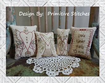 Love Never Fails Mini Collection-Primitive Stitchery  E-PATTERN by Primitive Stitches-Instant Download