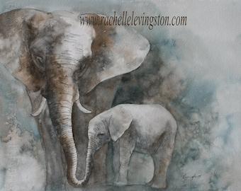 animal painting of baby elephant painting art Print baby elephant art PRINT baby elephant PRINT Wall decor nursery art home decor 11x14