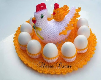 Kitchen accessory is hand crocheted wool eggs