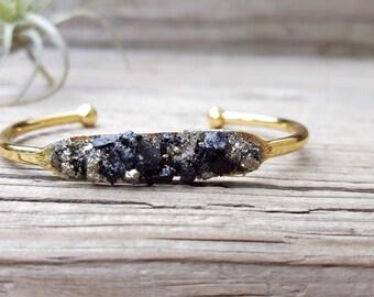 Pyrite Bracelet Raw Black Tourmaline Jewelry Crushed Pyrite Druzy Cuff Bracelet Tourmaline Birthstone October Birthstone Boho Bracelet