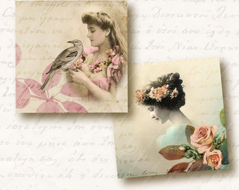Ladies 1 inch Square Tiles, Digital Collage Sheet, Download and Print Jpeg Images