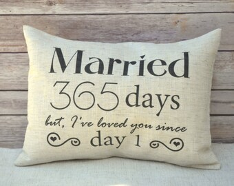 First Anniversary Gift, gift for her, couples gift, valentines gift idea 1st anniversary romantic gift newlywed pillow, 2nd Anniversary, 365