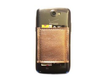 Phone Pocket / Sticky Wallet ID Case / Metallic Leather Rose Gold Copper Foil Geniune Cowhide / Adhesive business card holder