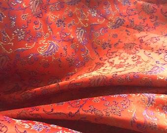 Orange Brocade Fabric - Sold by 1 Yard Increments