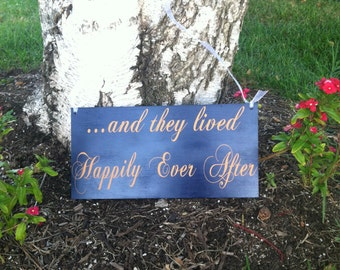 And They Lived  Happily Ever After Sign Here Comes the Bride Sign Ringbearer/Flowergirl Sign -- Wedding Signs  - Wedding Signage