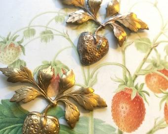 Vintage Strawberry Ornament (2 pc)