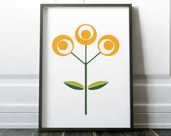 Wall Art Print, Scandinavian Print, Wall Art, Flower Print, Prints, Minimalist Print, Scandi Art, Nordic Print, Scandinavian Flower, Posters
