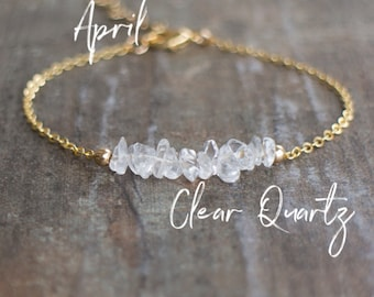 April Birthstone Bracelet, Raw Clear Quartz Bracelet, Gemstone Bar Bracelet, Healing Crystal, Minimalist Jewelry, April Birthday Gift