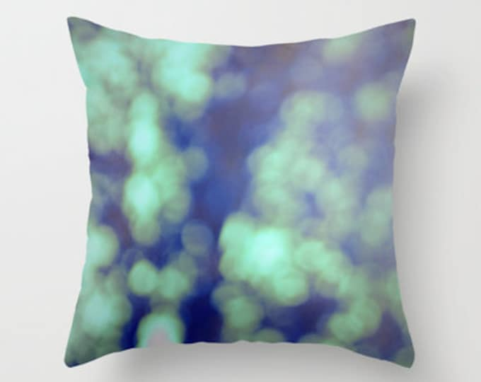 Green Throw Pillow Cover Includes Pillow Insert - Bokeh Photography - Sofa Pillow - Throw Pillow - Decorative Pillow - Made to Order