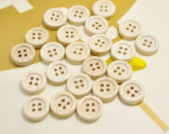 11mm Round Wood Buttons Pack of 50pcs small Natural unfinished Wooden Buttons.