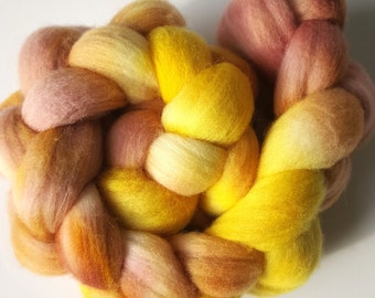 Handdyed Polwarth Wool Combed Top 100g OOAK International Shipping - Strawberry Lemonade