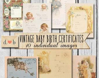 Digital Download - Vintage BABY BIRTH CERTIFICATES -  10 individual images