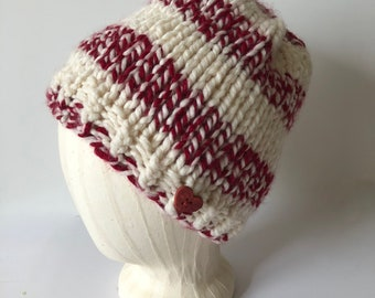 Burgundy and cream striped women's chunky hat, women's knit striped hat, wool blend winter bulky knit hat, one size fits most