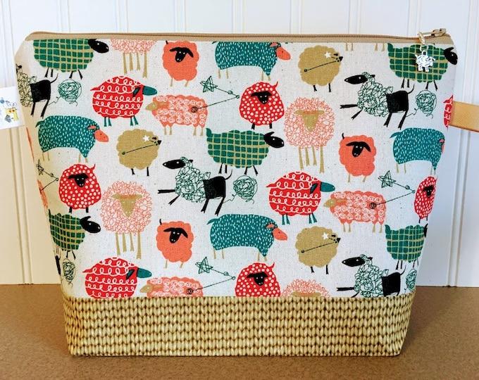 Featured listing image: Sheep Crochet / Knitting Bag - Medium Size